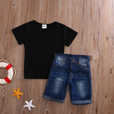 Black Tee and Blue Short Jeans : 1-6 years