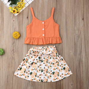 Orange Sling Top & Floral Skirt : 3-5 years