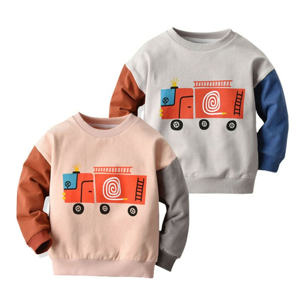 Unisex Cartoon Car Jumper : 0-5 years