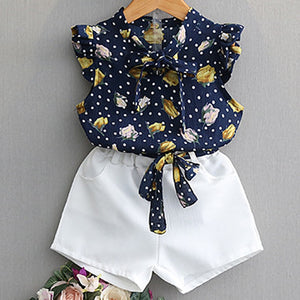 Blue Floral Top, White Shorts and Belt : 2-7 years