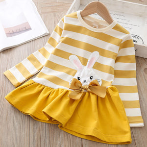 Long-sleeve Yellow Stripe Dress : 2-7 years