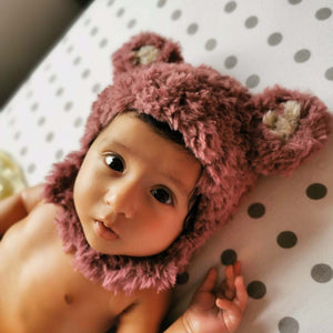 Pink Polar bear crochet beanie - Made to order