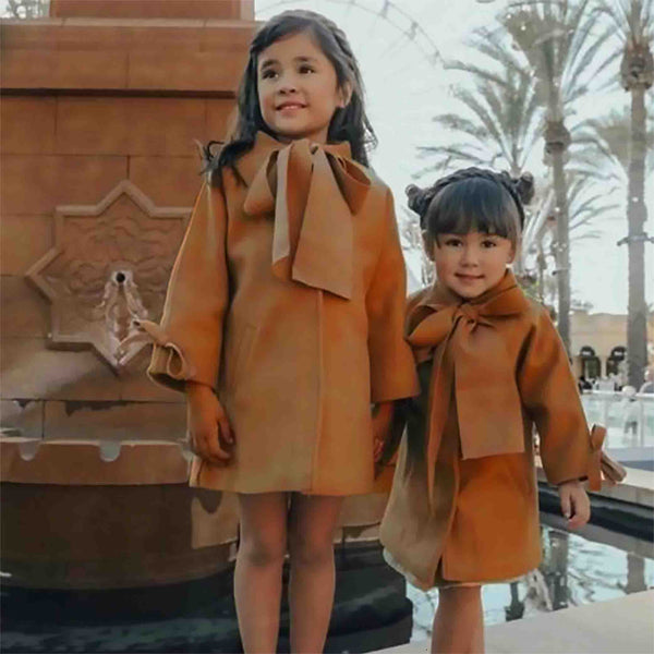 Woolen Bow-knot OverCoat : 2-8 years