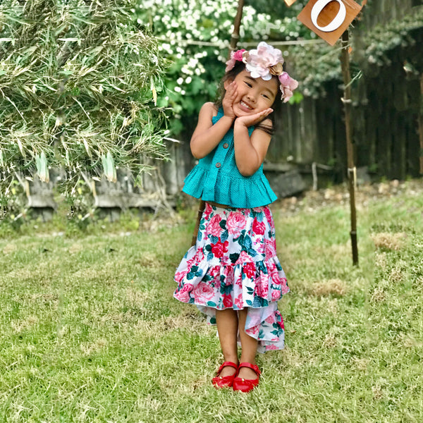 Teal Top & Fishtail Floral Skirt : 2-7 years