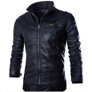 Locomotive style leather jacket for men