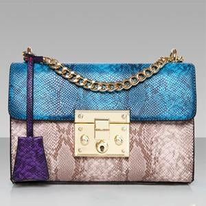 Snakeskin Leather Shoulder Bag