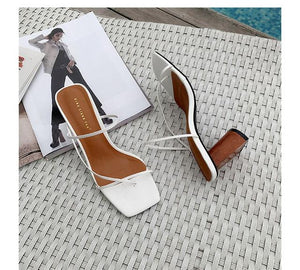 Slides Square Toe Women's Slippers 2019 Shoes  Cross-tied Heeled Mules Socofy Ladies Flip Flops Sliders New Luxury