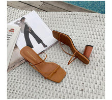 Load image into Gallery viewer, Slides Square Toe Women's Slippers 2019 Shoes  Cross-tied Heeled Mules Socofy Ladies Flip Flops Sliders New Luxury