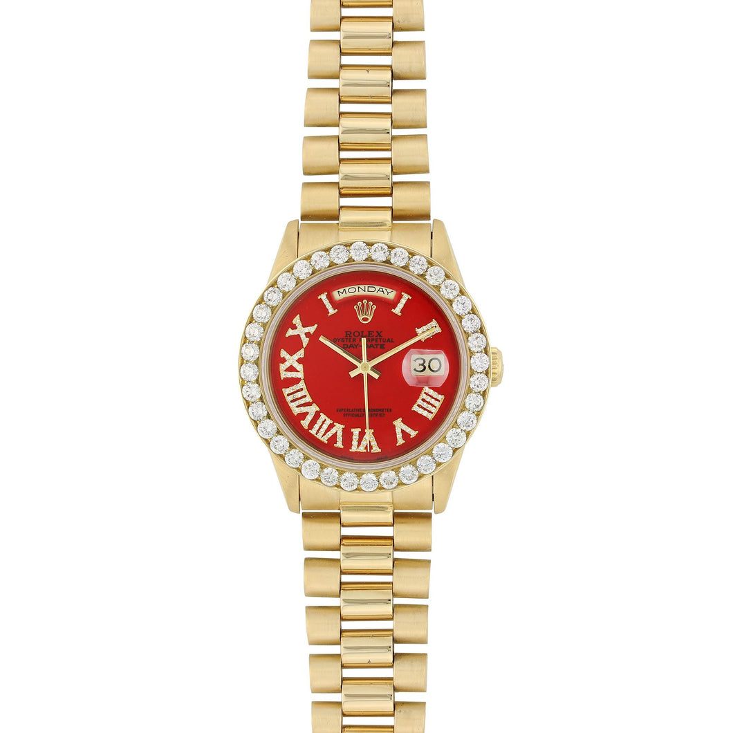 Gold Rolex Day Date President 36MM Red Roman Numerals Dial 18K Yellow Gold W/ Diamond Bezel