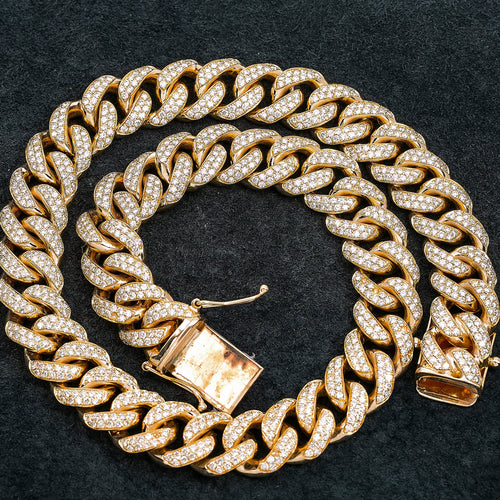 10K Yellow Gold Men's Cuban Link Chain 12MM With 25.25 CT Diamonds