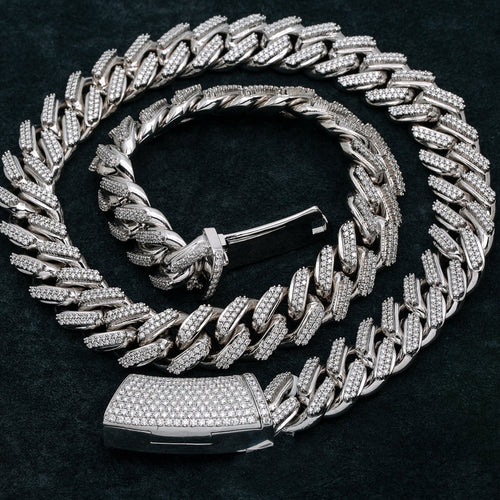 14K White Gold Men's Cuban Link Chain  With 30.93 CT Diamonds