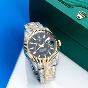 Two Tone Rolex Sky-Dweller 326933 42mm Black Dial with 21.5CT Diamonds