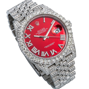 Rolex Datejust II 126300 41mm Red Dial With 11.75CT Diamonds