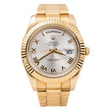 Load image into Gallery viewer, 18K Yellow Gold Rolex Day-Date II President 218238 41mm Silver with Roman Numerals Dial