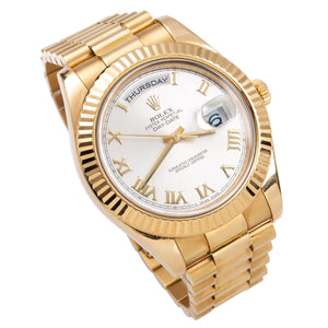 18K Yellow Gold Rolex Day-Date II President 218238 41mm Silver with Roman Numerals Dial