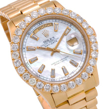 Load image into Gallery viewer, 18K Yellow Gold Rolex Day-Date 18038 36mm White Mother Of Pearl Dial With 4.75CT Diamond Bezel