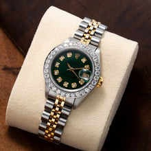 Load image into Gallery viewer, Two Tone Rolex Datejust 179173 26mm Green Dial with 1.8CT Diamond Bezel
