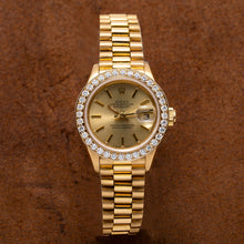 Load image into Gallery viewer, 18K Yellow Gold Rolex Datejust President 69178 Champagne Dial With 0.80CT Diamond Bezel