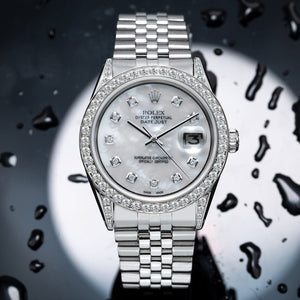 Rolex DateJust 179174 36mm Silver Mother of Pearl with 2.5CT Diamond Bezel and Lugs