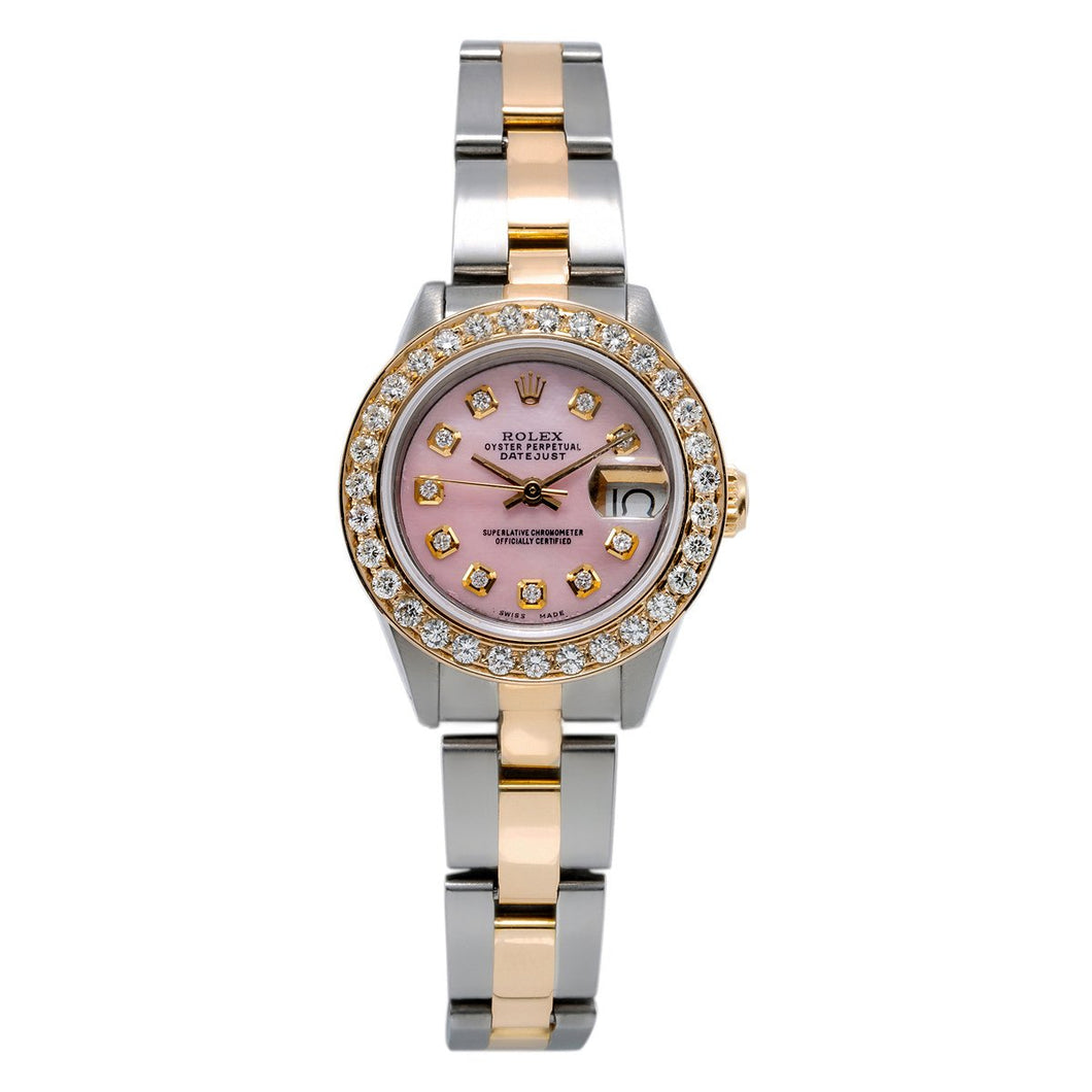 Two Tone Rolex DateJust 6917 26mm Pink Dial with 0.90CT Diamond Bezel