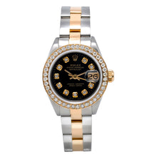 Load image into Gallery viewer, Two Tone Rolex DateJust 6917 26mm Black Dial With 0.90Ct Diamond Bezel