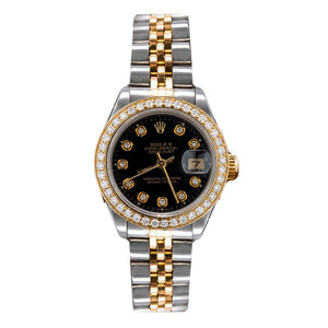 Two Tone Rolex  Datejust 69713 26mm Black Dial With 0.90CT Diamond Bezel