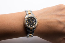 Load image into Gallery viewer, Two Tone Rolex  Datejust 69713 26mm Black Dial With 0.90CT Diamond Bezel