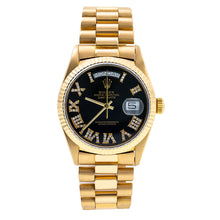 Load image into Gallery viewer, 18K Yellow Gold Rolex President Day-Date 18038 36mm Black Dial with Roman Numerals