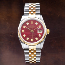 Load image into Gallery viewer, Two Tone Rolex Datejust 16013 36mm Red Dial