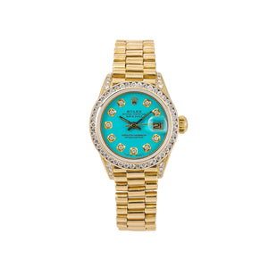 Rolex Lady-Datejust 6917 26MM Turquoise Diamond Dial With Yellow Gold President Bracelet