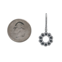 Load image into Gallery viewer, 14K White Gold Flower Shaped Ladies Earrings With Black Diamonds