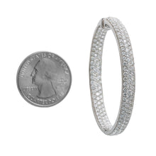 Load image into Gallery viewer, 18K White Gold Ladies Round Earrings With White Diamonds