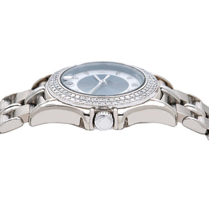 18K White Gold Mauboussin Lady's Round NO140 26mm white and Blue Dial with Diamond Bezel