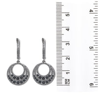 Load image into Gallery viewer, 14K White Gold Ladies Earrings Black Diamonds