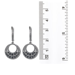 14K White Gold Ladies Earrings Black Diamonds