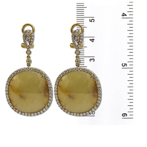 18K Yellow Gold Ladies Earrings With Round Shaped  Diamonds