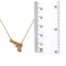 Load image into Gallery viewer, 18K Rose Gold Gun Women's Necklace With 0.25 CT Diamonds