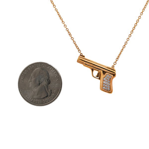 18K Rose Gold Gun Women's Necklace With 0.25 CT Diamonds