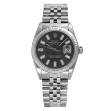 Load image into Gallery viewer, Rolex Datejust 16014 36mm Black Dial with Baguette Hour Marks