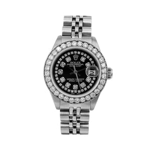 Rolex Lady-Datejust 6917 26MM Black Diamond Dial With 2.25 CT Diamonds Jubilee Bracelet