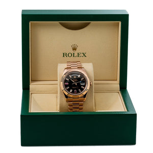 Rolex Day-Date II 218235 41MM Black Dial President Rose Gold