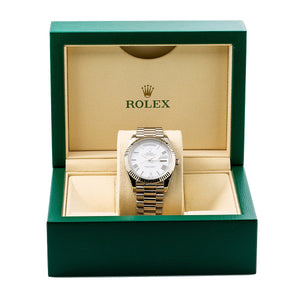 Rolex Day-Date 228239 40MM White Dial With President White Gold Bracelet