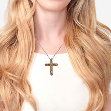 Load image into Gallery viewer, Unisex 14K Yellow Gold Cross Pendant with 1.20 CT Diamonds