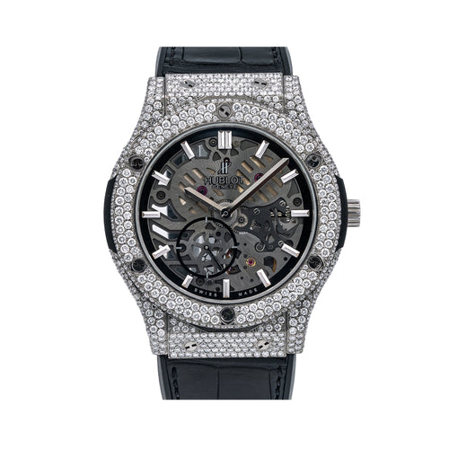 Hublot Classic Fusion Ultra-Thin 545.NX.0170.LR 45MM Black Dial With 9 Carat Diamonds Leather Bracelet