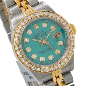 Rolex Lady-Datejust 69173 26MM Green Diamond Dial With 0.90 CT Diamonds Two Tone Bracelet