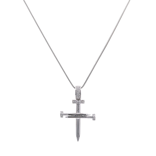 Unisex 14k White Gold Pendant with 0.30 Ct Diamonds