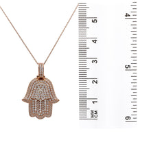 Load image into Gallery viewer, Men's 14K Rose Gold Hamsa Pendant with 3.50 CT Diamonds