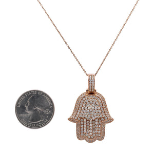 Men's 14K Rose Gold Hamsa Pendant with 3.50 CT Diamonds