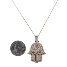 Load image into Gallery viewer, Men's 14K Rose Gold Hamsa Pendant with 2.95 CT Diamonds
