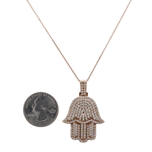 Men's 14K Rose Gold Hamsa Pendant with 2.95 CT Diamonds